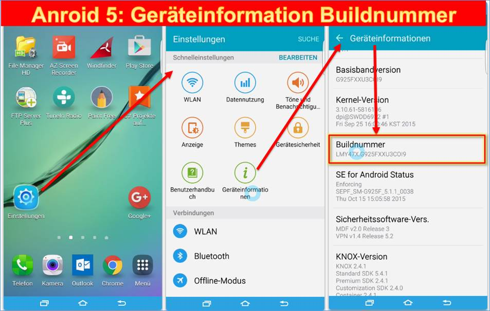 Android Entwicklermodus
