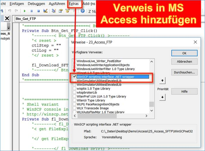 access  sftp using in ms office vba teil 2 basic