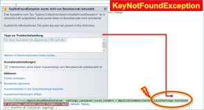 UWP Fehler: KeyNotFoundException in LocalSettings