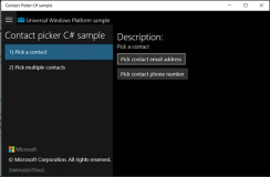 UWP Windows 10 Sample: Contact Picker Sample