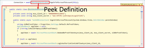 Neu in Visual Studio Community: Peek Definition