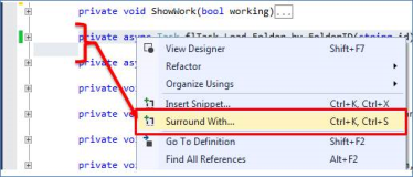 Neu in Visual Studio Community: Surround with
