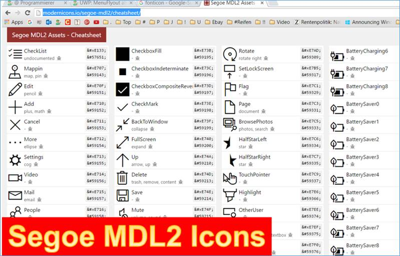 Uwp Fonticon Glyph Codes And Symbol Icon Codes Under Segoe Mdl2