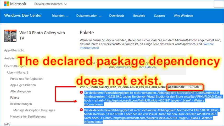 Windows Store Error message the declared package dependency
