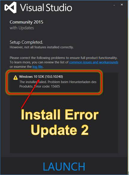 Visual Studio 2015 reinstallation of with updates 2 leads to errors