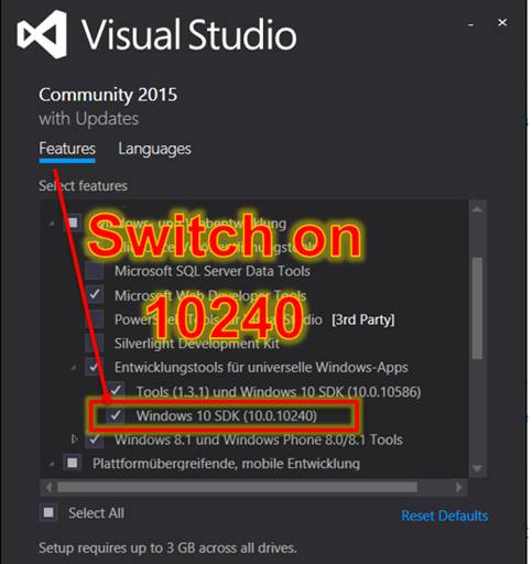 Solved Visual Studio error code 15605: Windows 10 SDK (10 0 10240