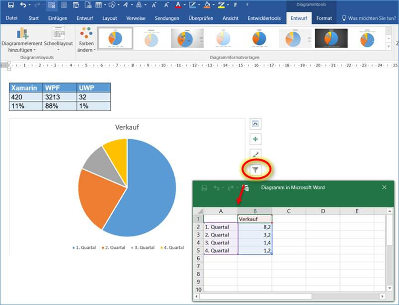 Word add graph in word codedocu office 365 to do this an excel based data table appears by clicking on the filter funnel icon icon get on the table of data on which the chart is based ccuart Choice Image