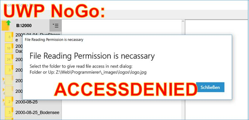 UWP NoGo allow file access universal Windows apps you