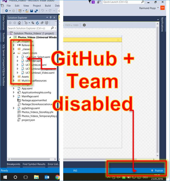 Visual Studio: Disabling Synchronization With GitHub and Team