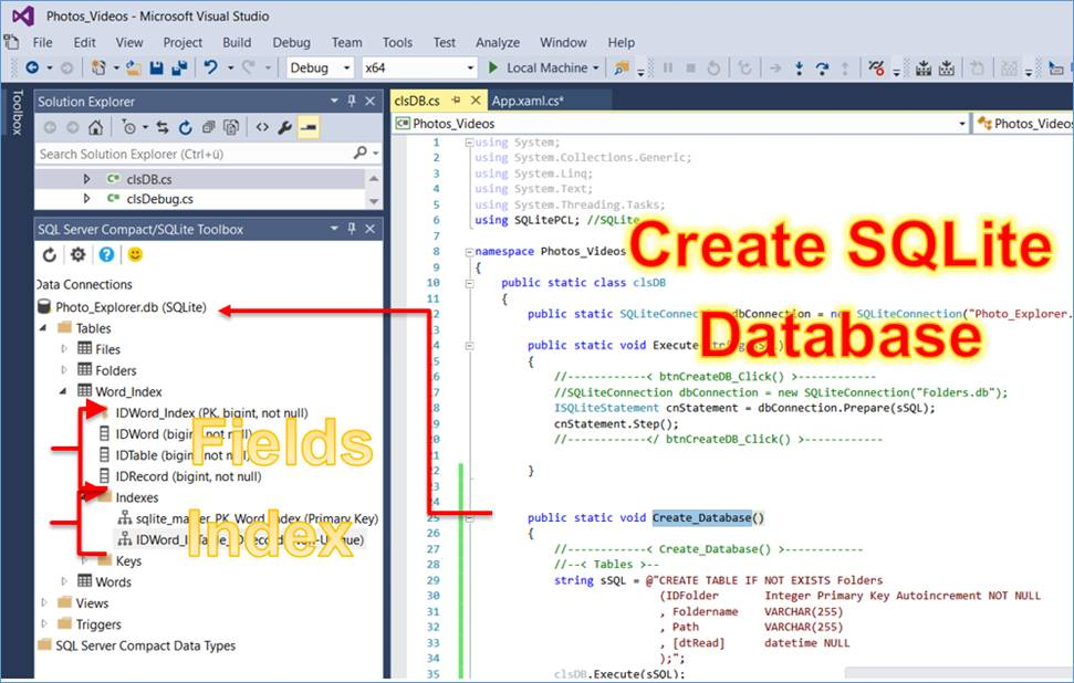 Uwp Sqlite Sqlite Code To Create A Database The Tables And