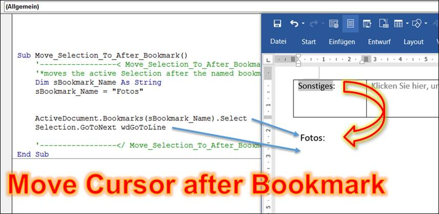 Word: Jump to the next line after a bookmark @ CodeDocu