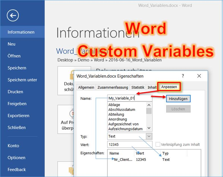 Word: Document properties as variables @ CodeDocu Office 365