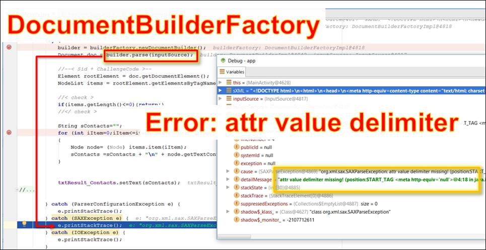Android Java: error when reading a HTML document with