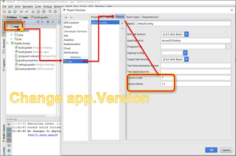 How to Change Android App project settings