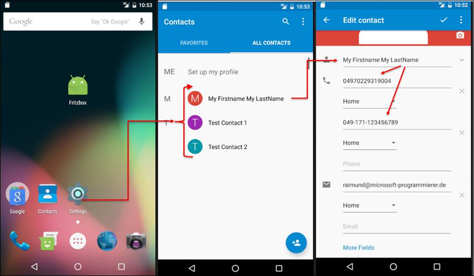 Android code: Android read contacts and store it in a