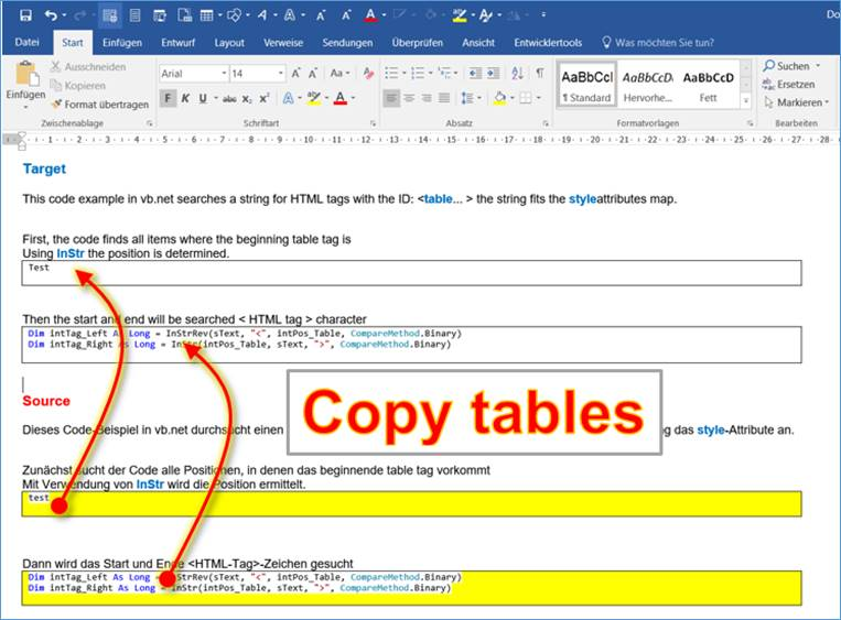 Word macro: loop through tables, Select and Copy Content, Paste