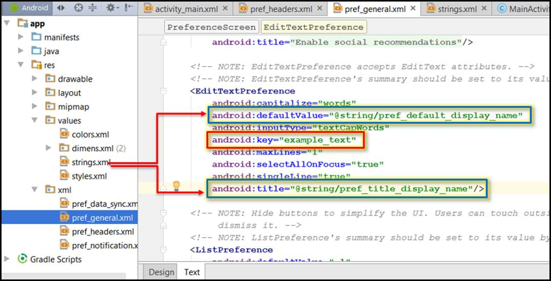 Add Android settings to app project Preferences How complete Studio