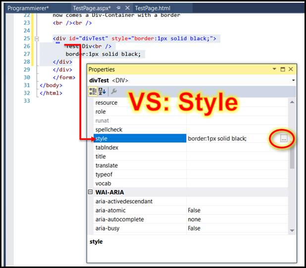 Html draw a div container with a border in visual studio codedocu net framework - Div tag properties ...