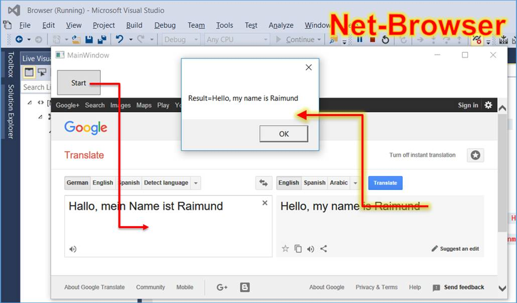 C# net: Simple c# code example to the browser control