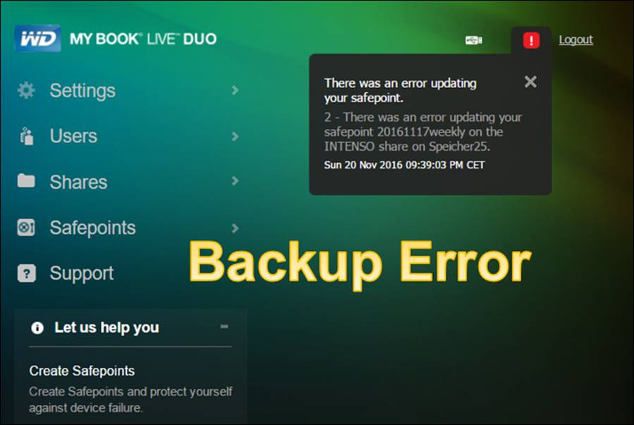WD My Book: Backup Error Updateing Safepoint @ CodeDocu Others