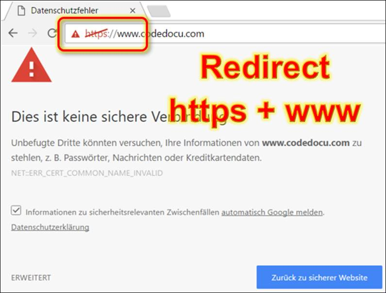 Redirect www to non-www and http: to https: @ CodeDocu Net