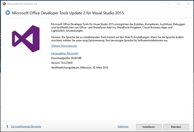 Installing the English Office Developer Tools for Visual Studio