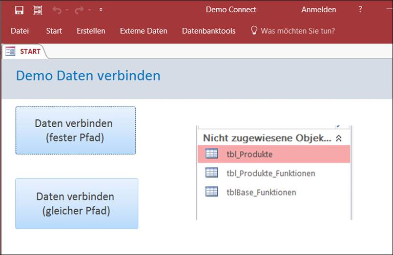 MS Access: Reconnect Tables automatically to Data database