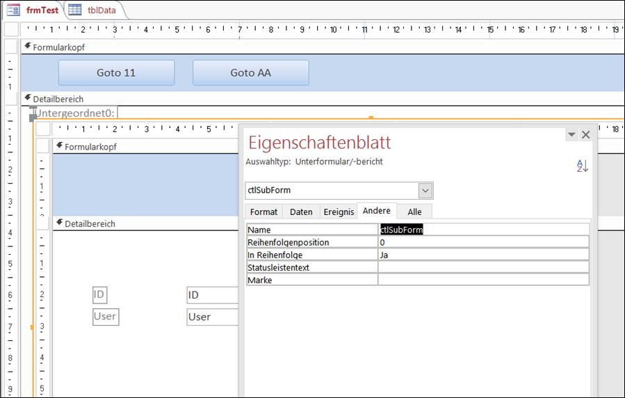 Access DB: Select record in subform