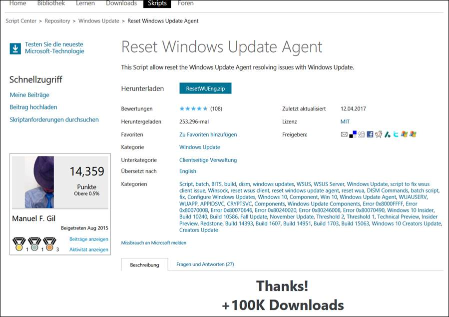 with ResetWUEng Tool Reset Windows Update Agent