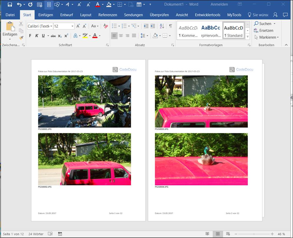 word template  import photo documentation as a photo