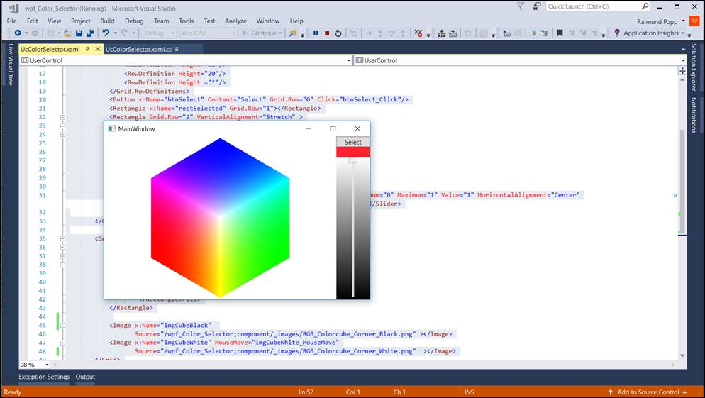 WPF Color Picker on Color Cube @ CodeDocu Net Framework