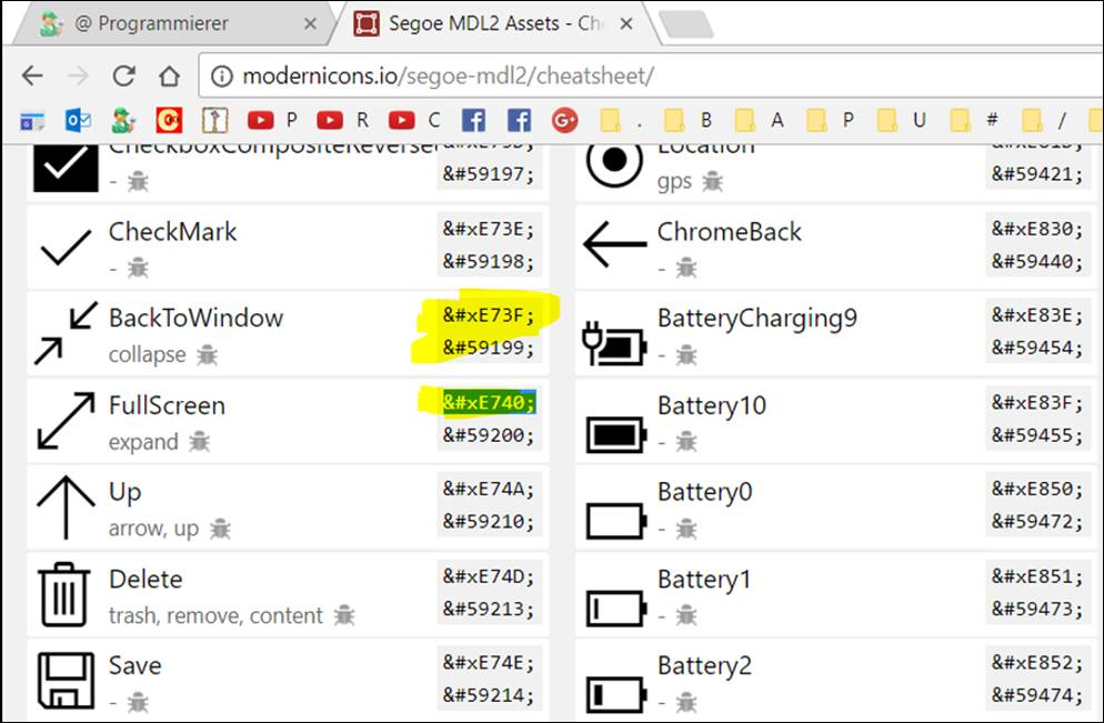 WPF Windows Font icons with Segoe MDL2 Asset