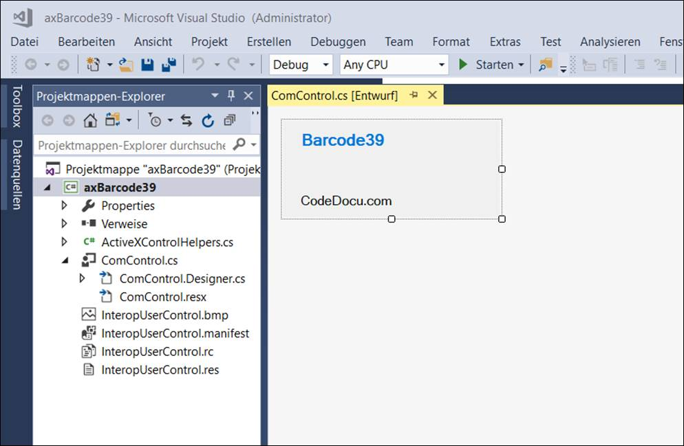 Project template for an ActiveX control @ CodeDocu Office 365