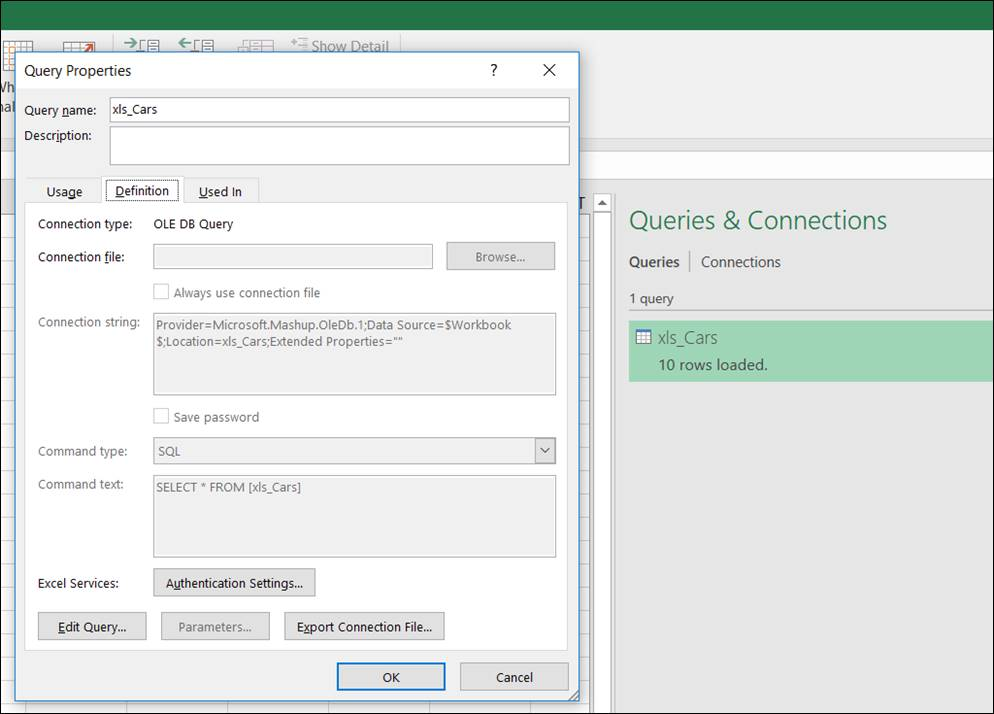 Excel: Switching the data connection to another database