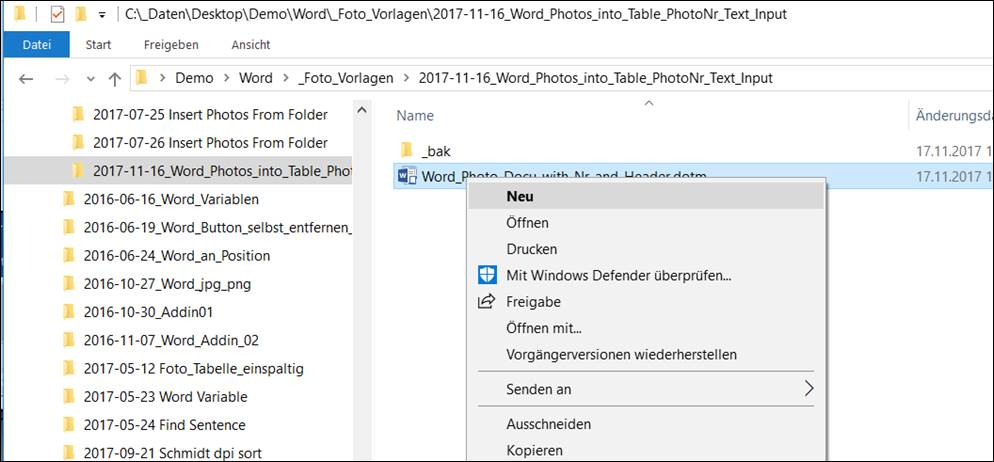 word template directory