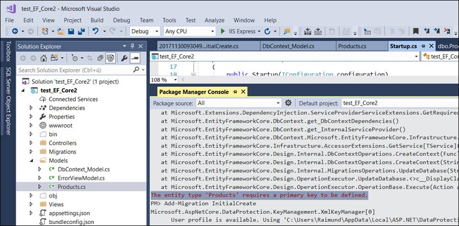 Asp net Errors: The entity type xxx requires a primary key to be defined