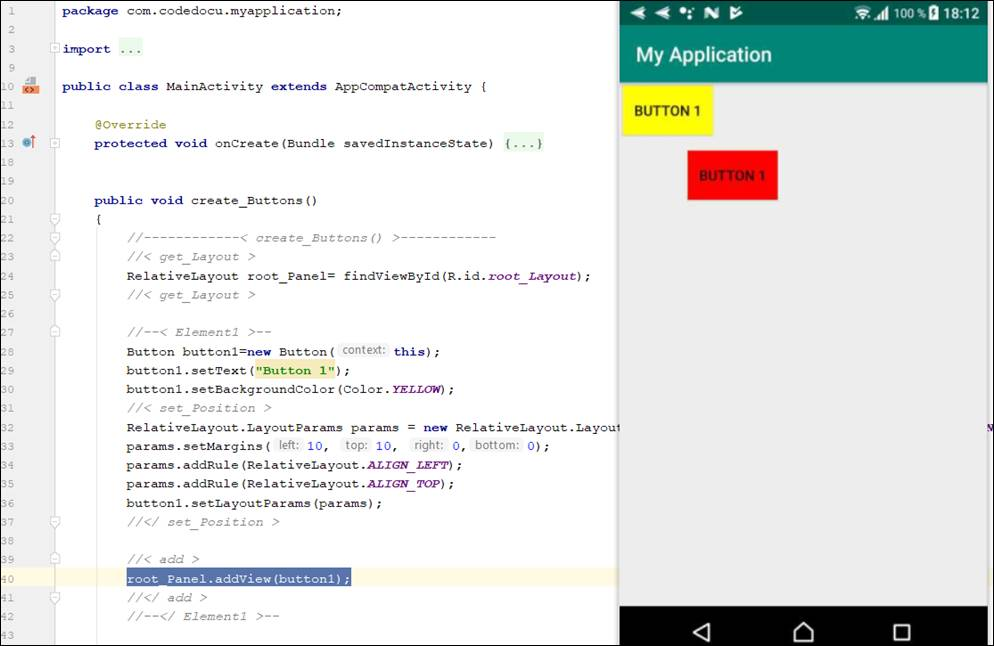 Android Java: Create view button at runtime
