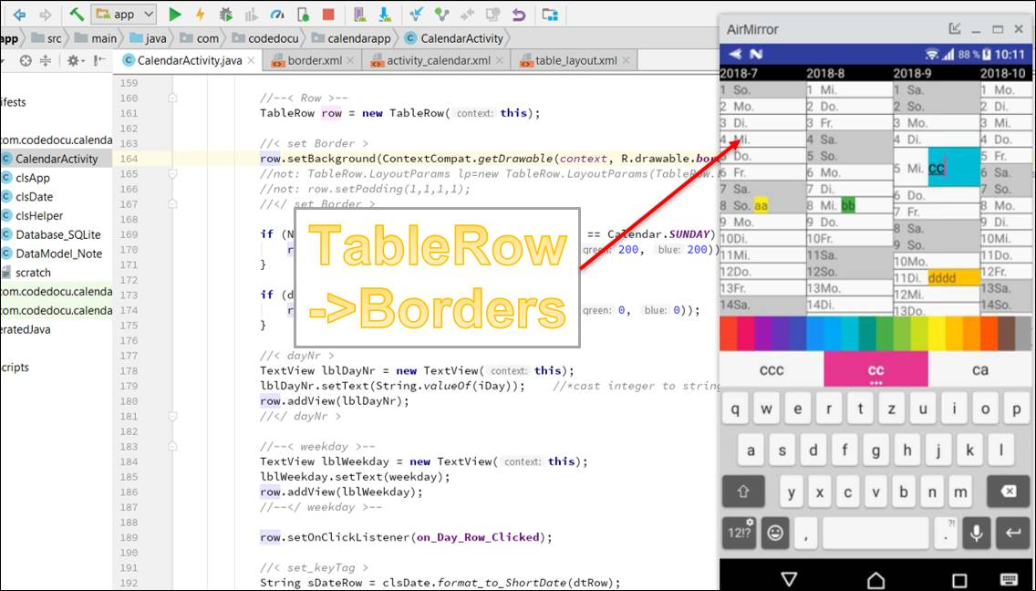 Android: Draw tables lines
