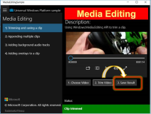 UWP Sample: MediaEditing Working with Videos