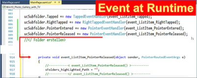 C#, UWP, WPF: Create of an event during the term attaching to a control element