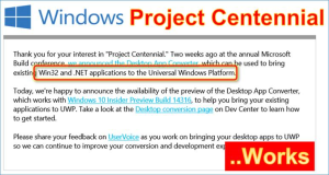 Windows: The Project Centennial to convert old programs in Windows apps is released