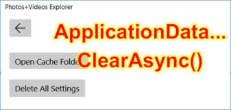 UWP: delete all settings, settings of a Windows app with ClearAsync
