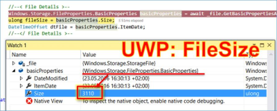 UWP: determine the file size of a Storagefile