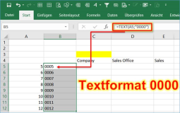 Excel: create formula for numbers with leading zeros