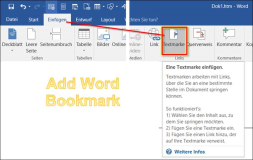 Word: How to manage word bookmarks