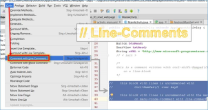 Android Studio: off comment lines and blocks of code