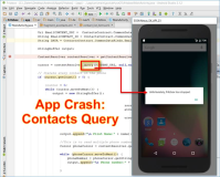 Android Debug app crashes at missing user permission to contacts