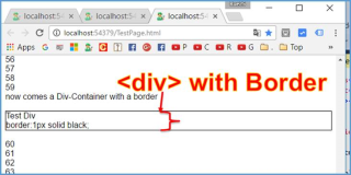 HTML: draw a div-container with a border in Visual Studio