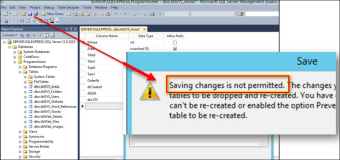 SQL Server: Saving changes is not allowed.