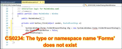Error CS0234: The type or namespace name Forms does not exist in the namespace